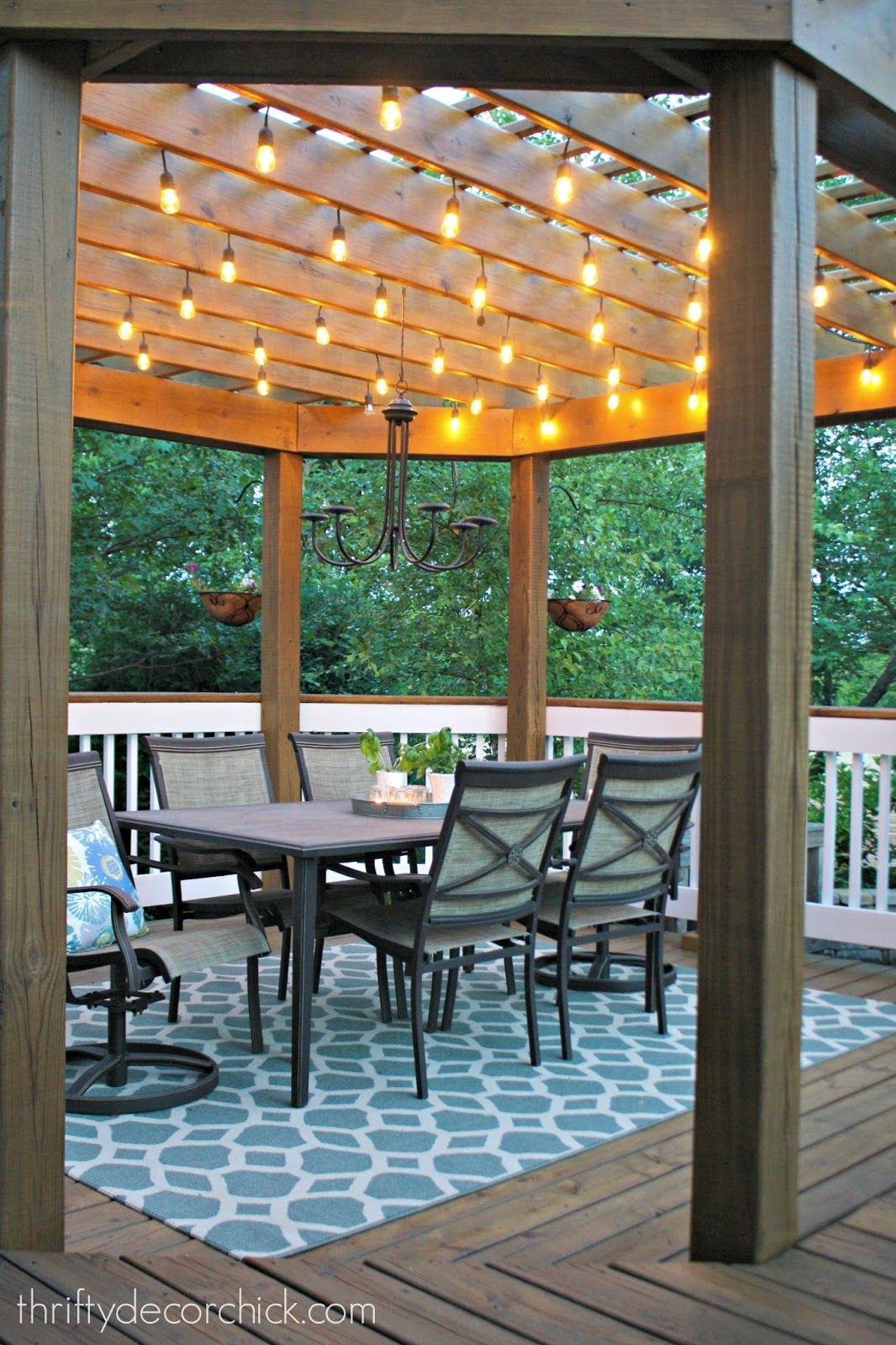 Our beautiful outdoor dining room Lights Pergolas and Backyard