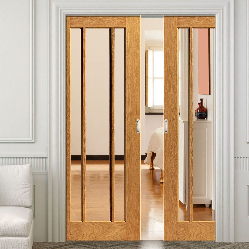 Double pocket river oak darwen pane sliding door system in three