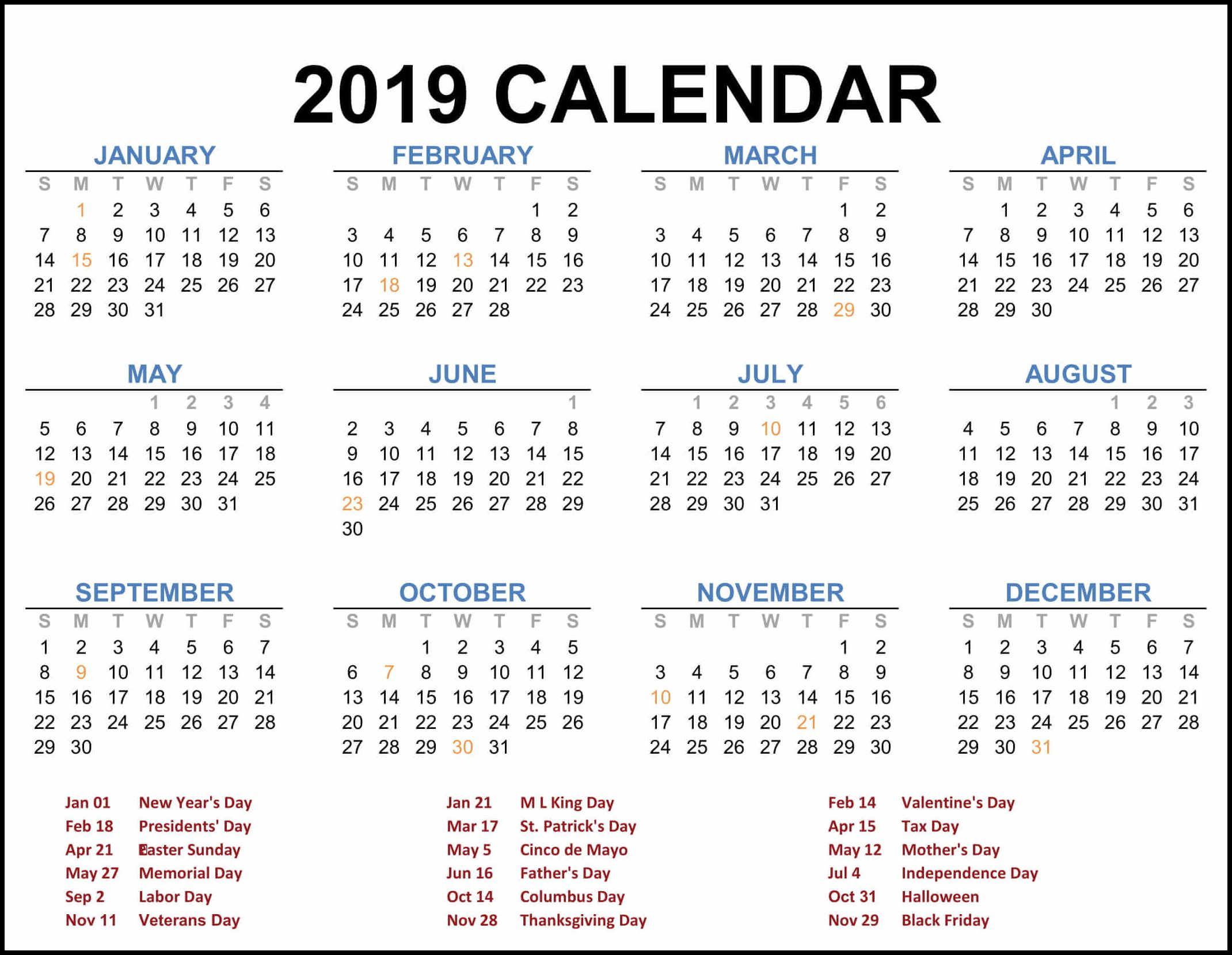 2019 federal holiday calendar  calendar2019