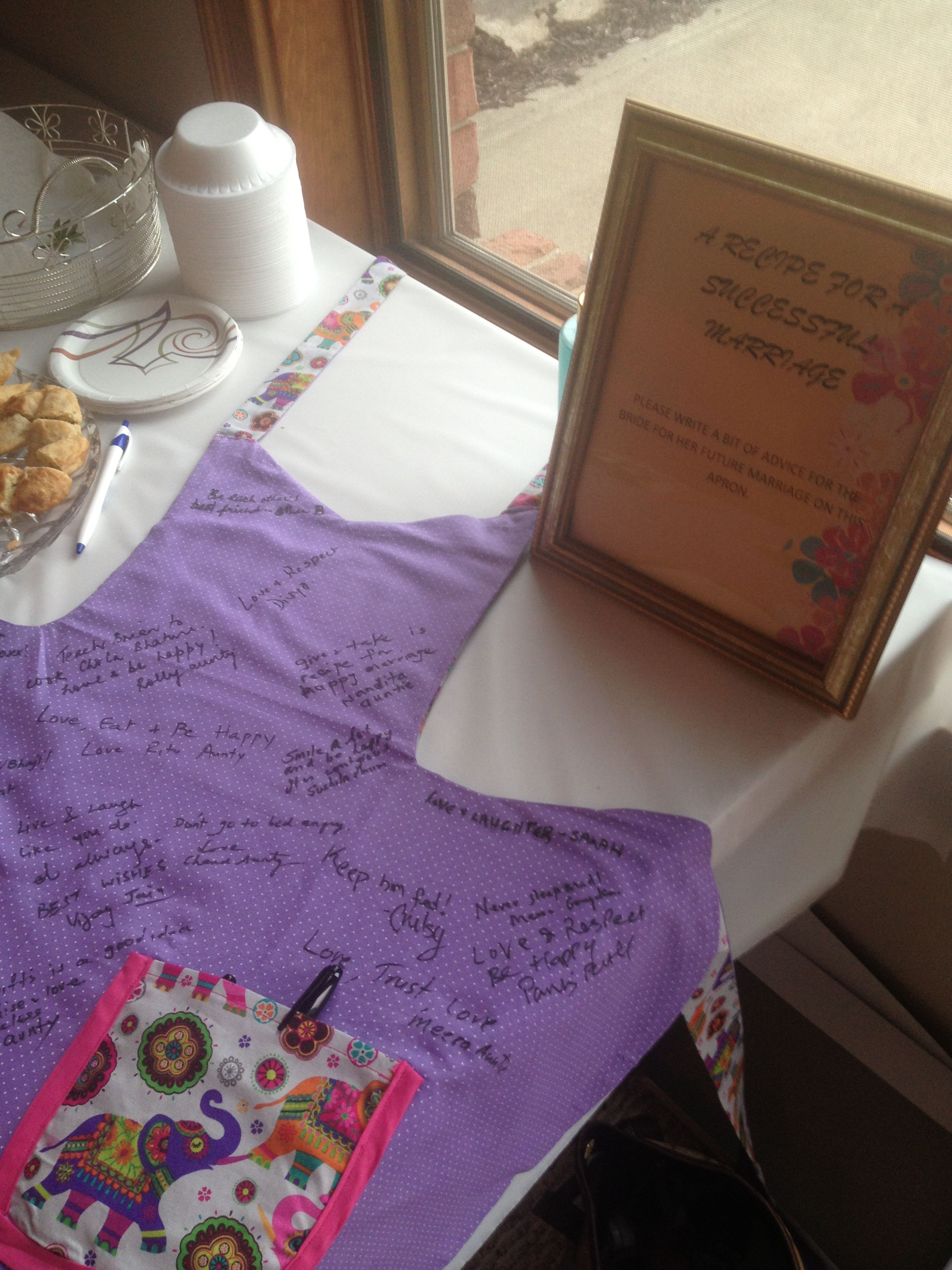 bridal shower guestbook apron makebuy an apron for all the women to sign and write advice to the bride bridalshower