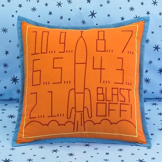 Space Ship Countdown Pillow