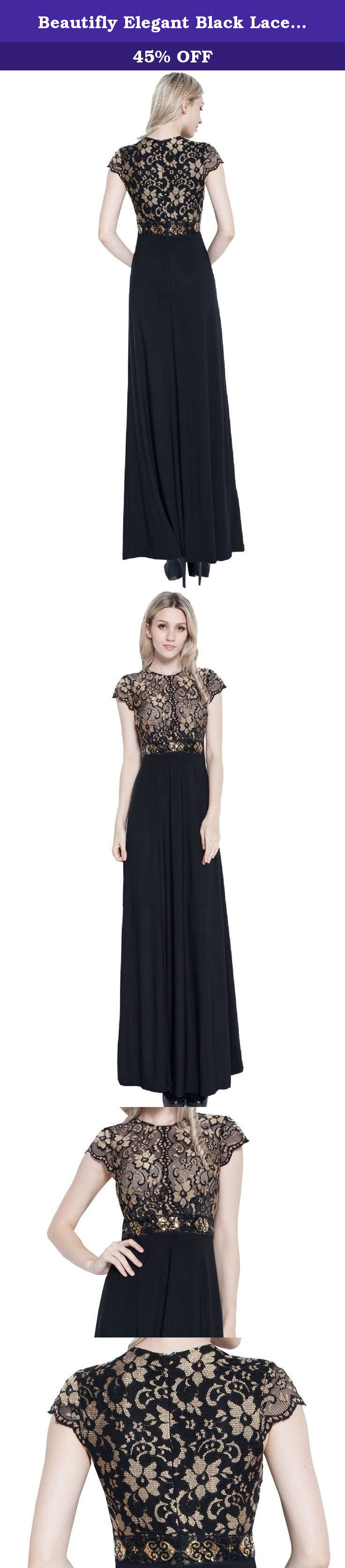 Beautifly elegant black lace mother of the bride ball gown party