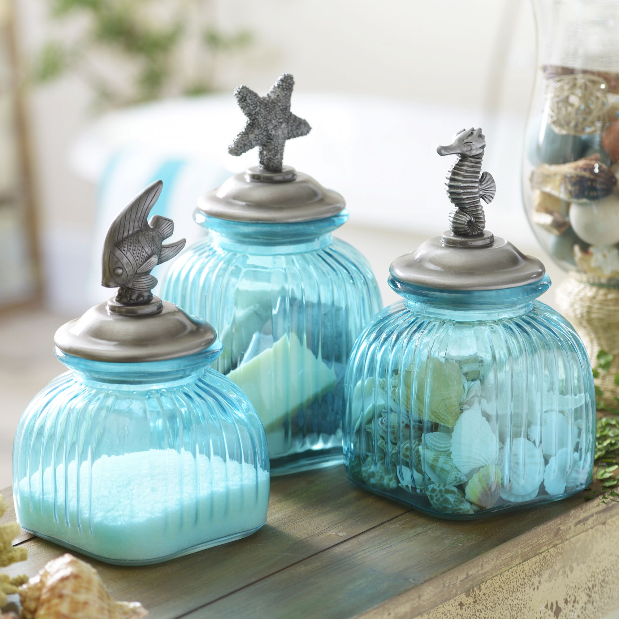 blue glass coastal canisters set of 3 glass kitchens and room