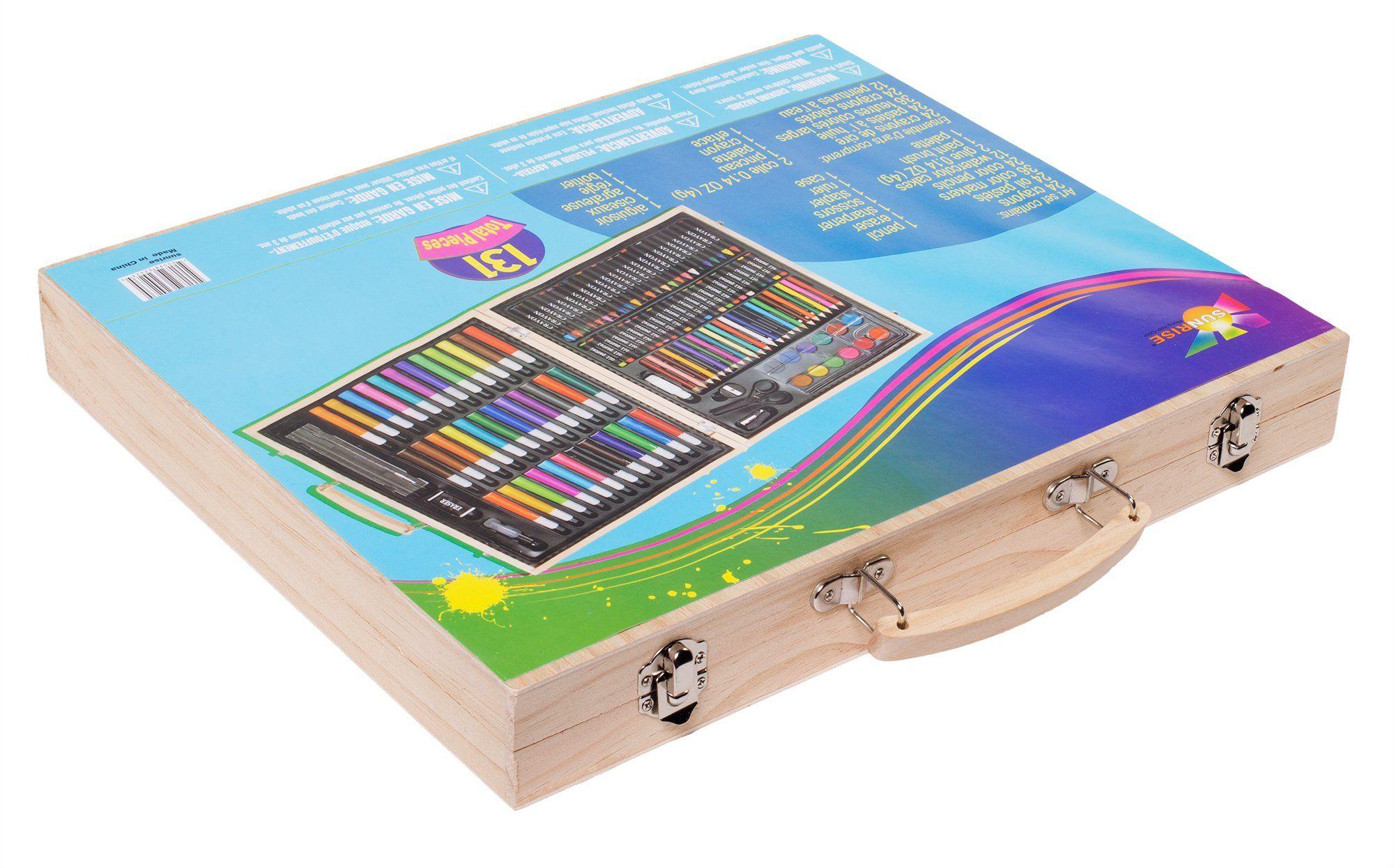 131-Piece With Wood Case Sunrise Portable Art Set