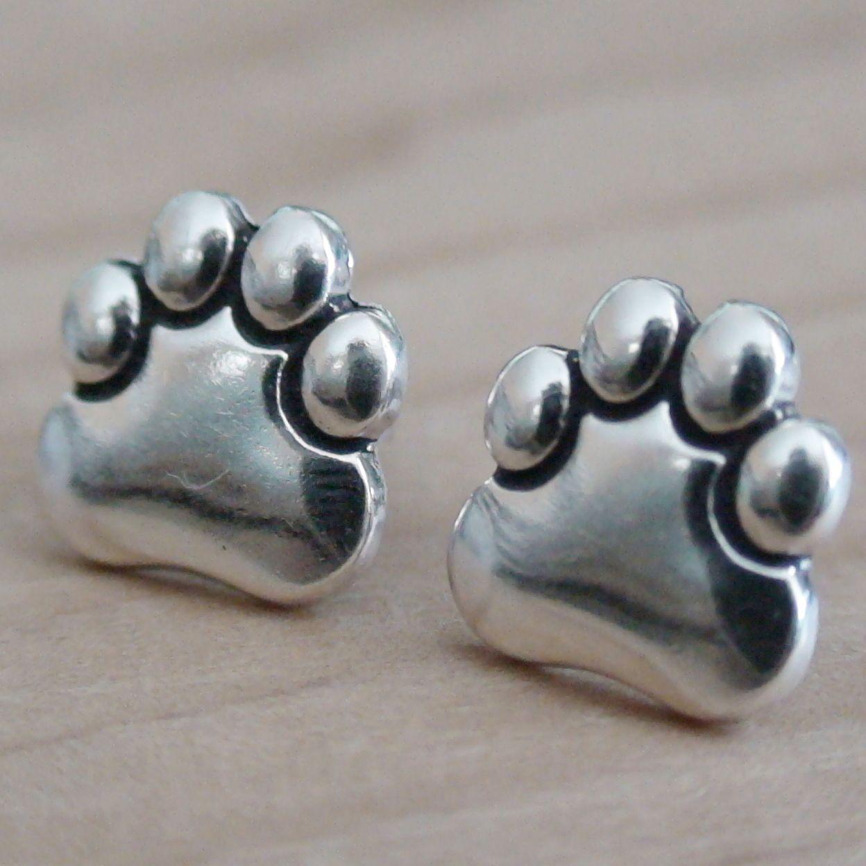 Paw Print Earrings - 925 Sterling Silver - Cat Dog Animal Pet Post Stud Bear