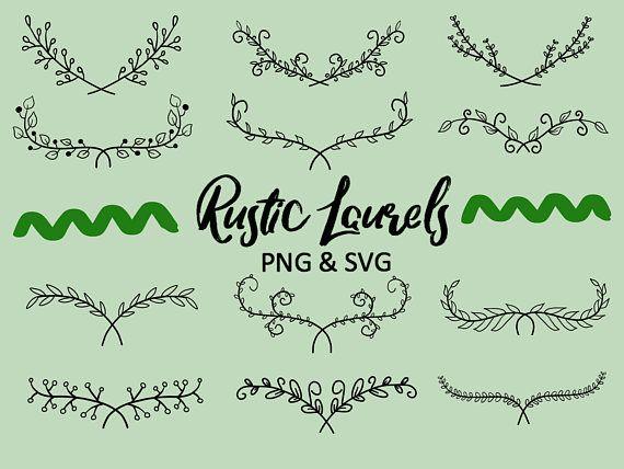 Photo of RUSTIC FLORAL LAURELS, hand-drawn wreaths, doodle clipart, floral wreaths, rustic, drawn wreaths, png, svg, vector wreaths, wedding, laurels