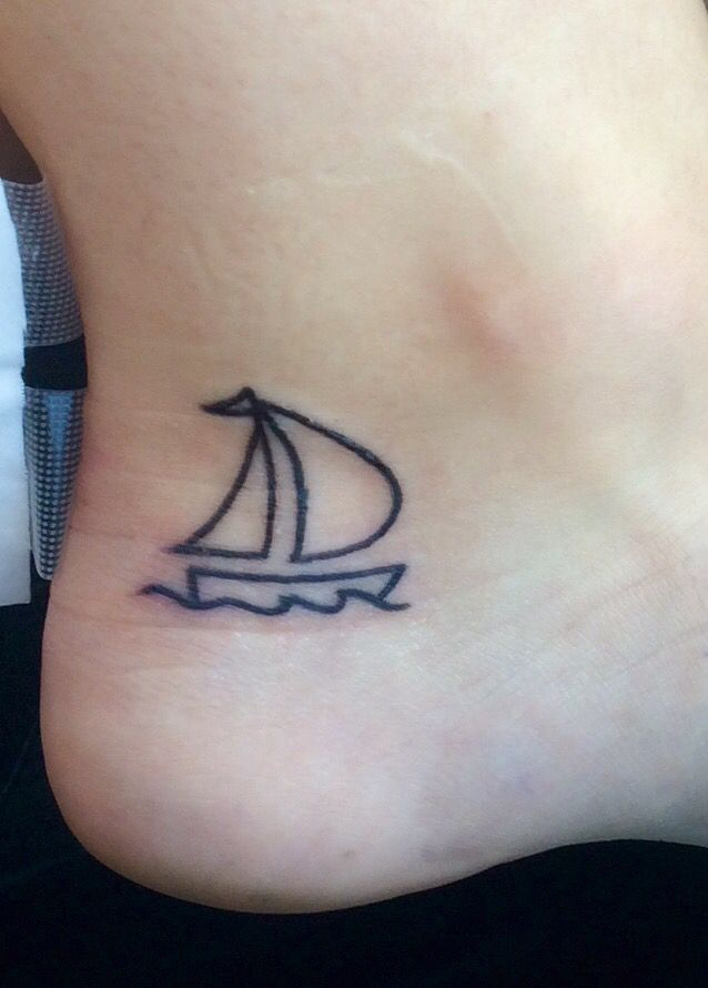 Sailboat On An Ankle Tattoo (With Images)