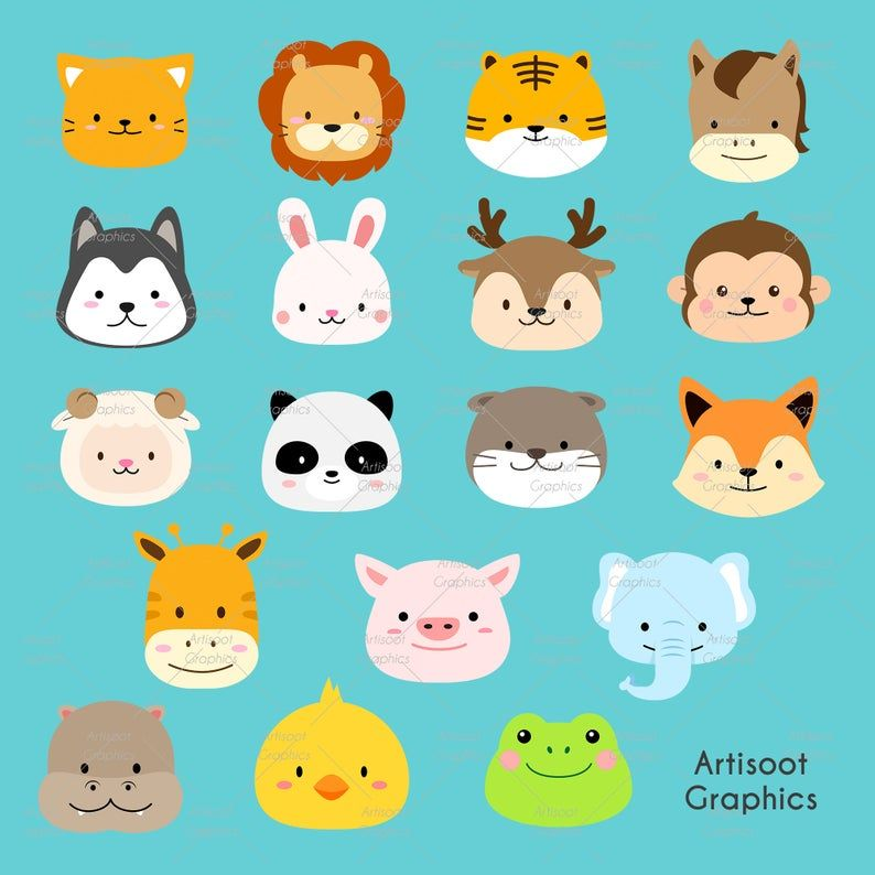 Animal Png Cute Animal Animal Clipart Animal Head Clipart Etsy Animal Clipart Cute Animals Baby Animals