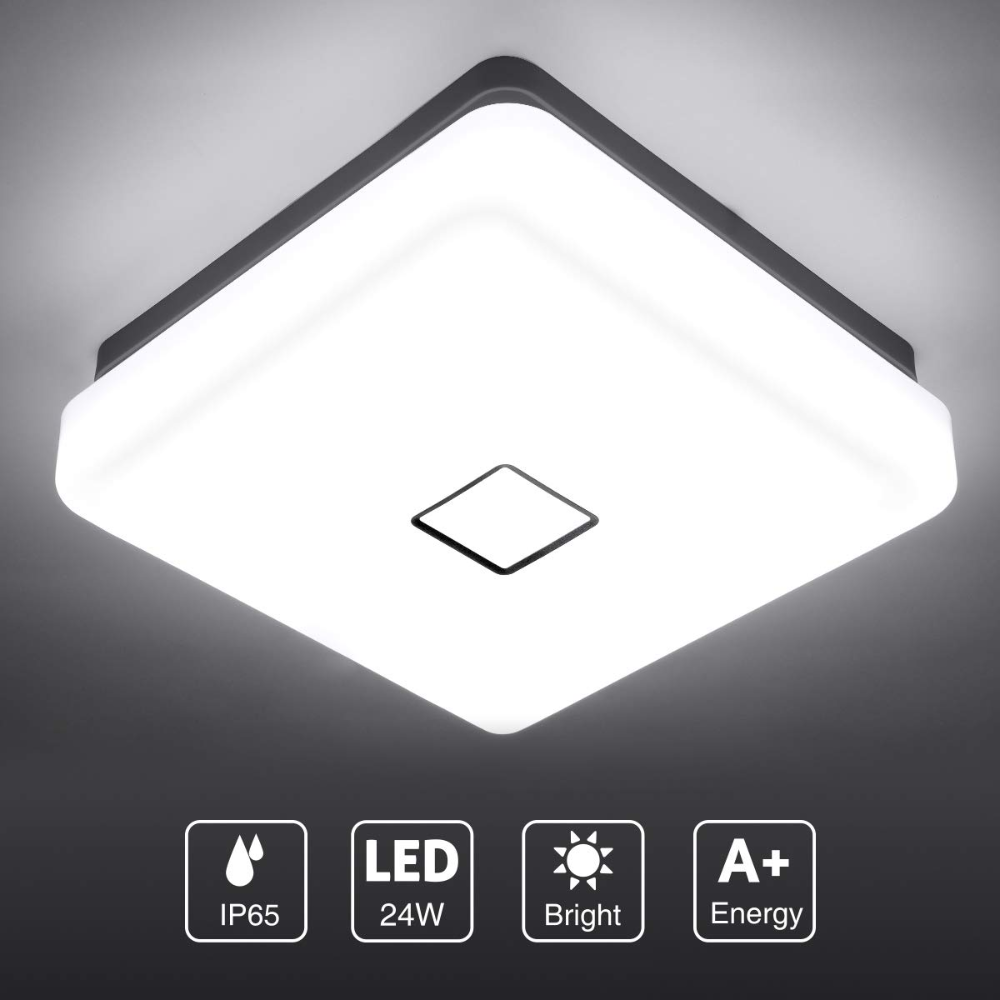 Onforu 24w Led Ceiling Light 2100lm Ip65 Waterproof Super Bright Flush Square Bathroom Lights Cri90 5000k In 2020 Led Ceiling Lights Lamps Living Room Ceiling Lights