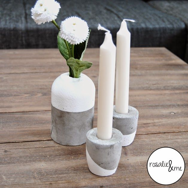 diy beton basteln mit beton rosalie me deko kerzenst nder aus beton vase aus beton beton. Black Bedroom Furniture Sets. Home Design Ideas