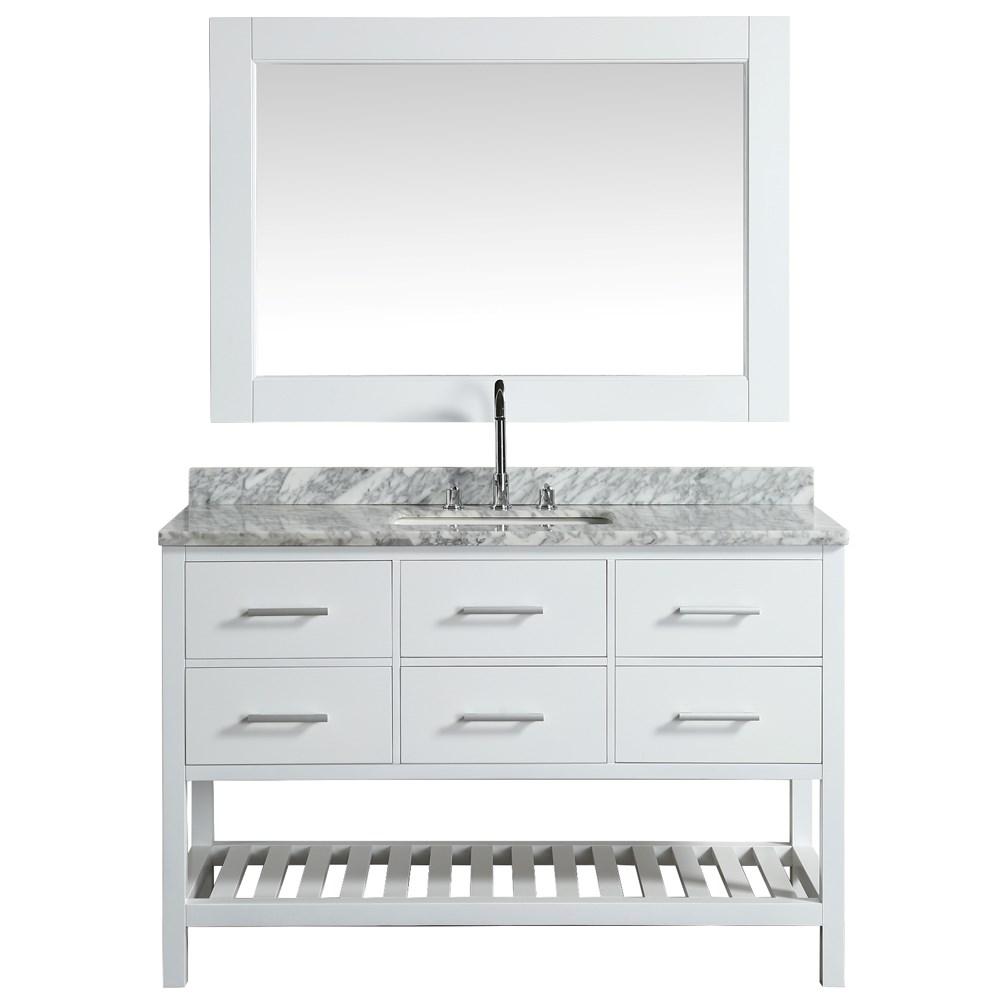 Design Element London Cambridge 54 Single Sink Vanity Set White