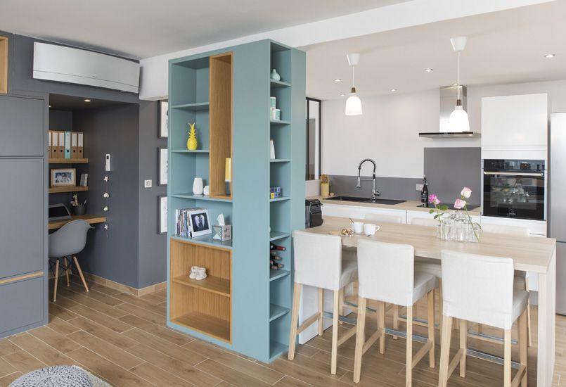 Un bain de lumière, aménagement, rénovation, appartement, lyon - agencement de cuisine ouverte