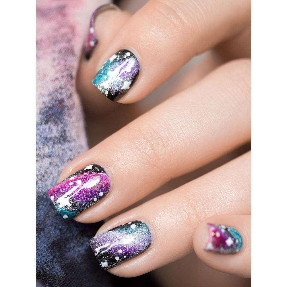 Beautiful galaxy nail art. I tried this recently and it didn\'t look ...