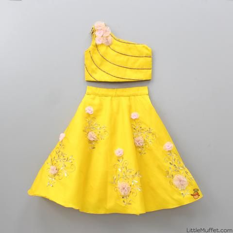 9ca6d3373 Pre Order: Yellow Top With Embroidery Skirt | kids wear in 2019 ...