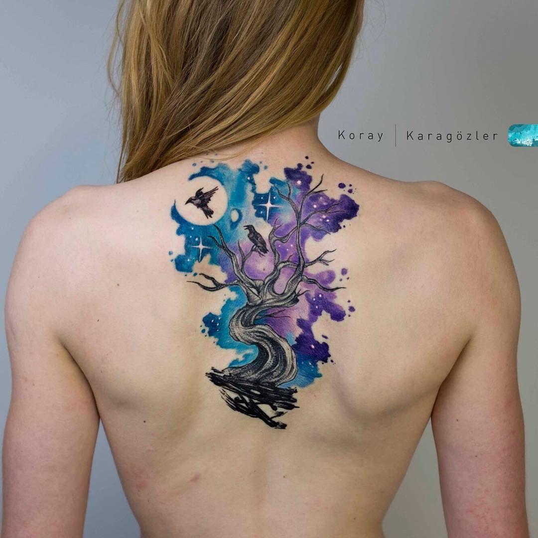 Tatuagem criada por KORAY KARAGÖZLER da Turquia Árvore com passaros