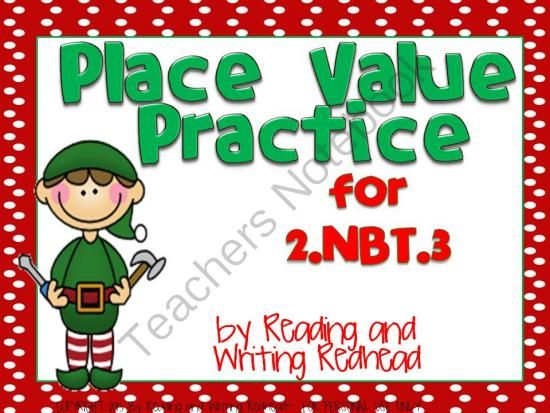 Christmas Themed Place Value Practice for 2NBT3 from ...