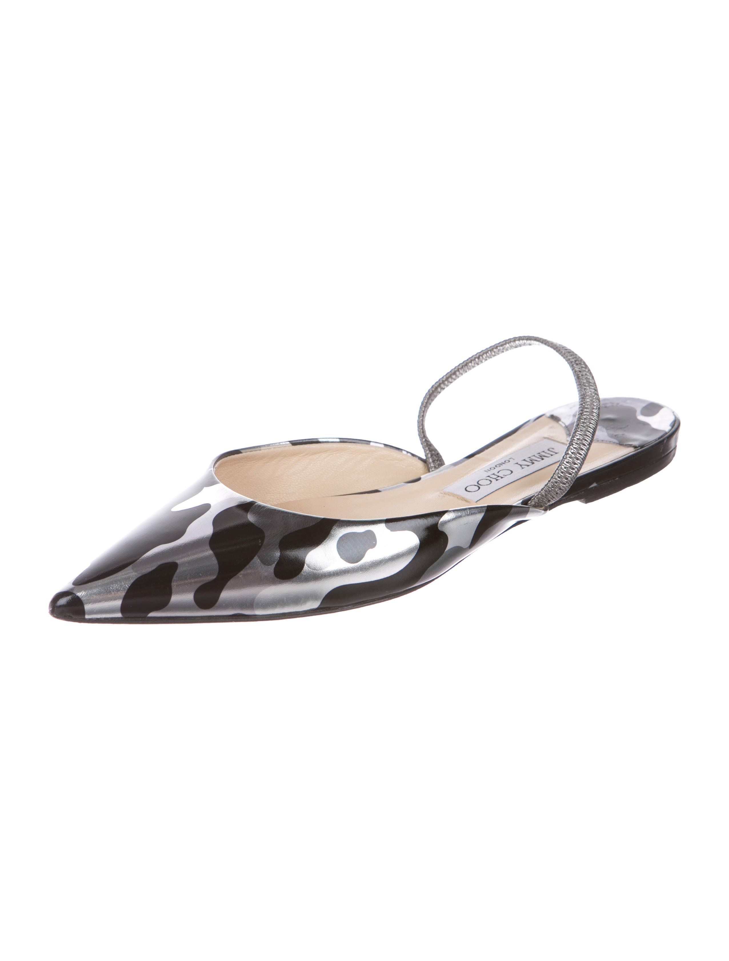 87476eb3e Silver and black leather Jimmy Choo pointed-toe slingback flats with  camouflage print throughout and stacked heels.Designer Fit  This designer  runs a half s