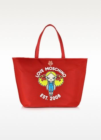 LOVE MOSCHINO LARGE NYLON TOTE BAG. #lovemoschino #bags #leather ...