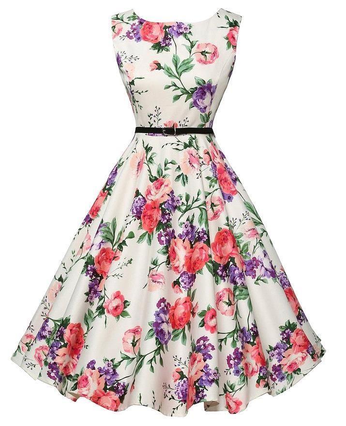 Audrey Hepburn 50s Vintage Rockabilly Dress Vestidos