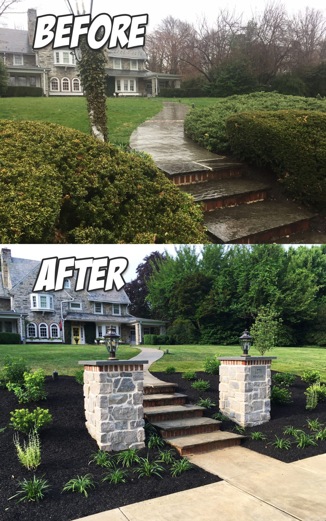 Front Entrance Pillars and Landscaping Project (Before & After) installed  in Lancaster, PA - Front Entrance Pillars And Landscaping Project (Before & After