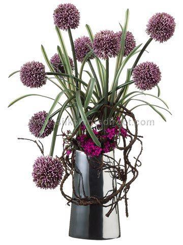 Floral Arrangements With Alliums Google Search Flowers Flower Arrangements Silk Plants