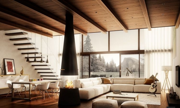 weißes Ecksofa, Holz-Boden und Decke und freistehender Kaminofen - holz boden und decke modern interieur