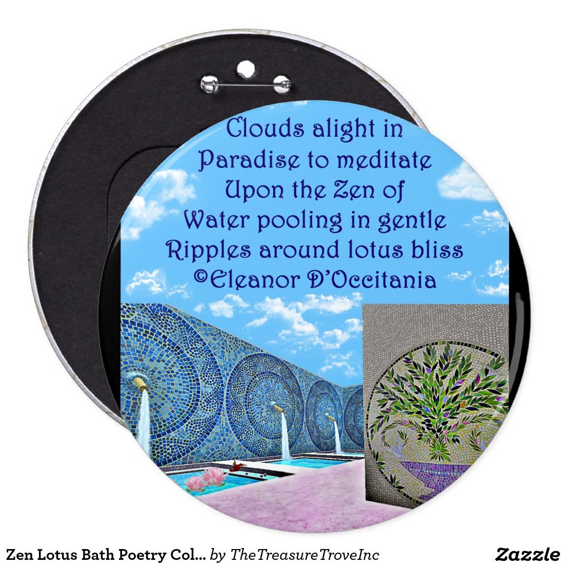 Zen Lotus Bath Poetry Colossal 6 Inch Round Button. Meditate upon ...