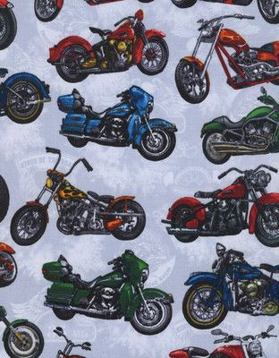 Motorcycle Adrenaline Rush Motorcycles On Grey Cotton Fabric Print D672 31 On Ebay Harley Davidson Chopper Motorcycle Printing On Fabric