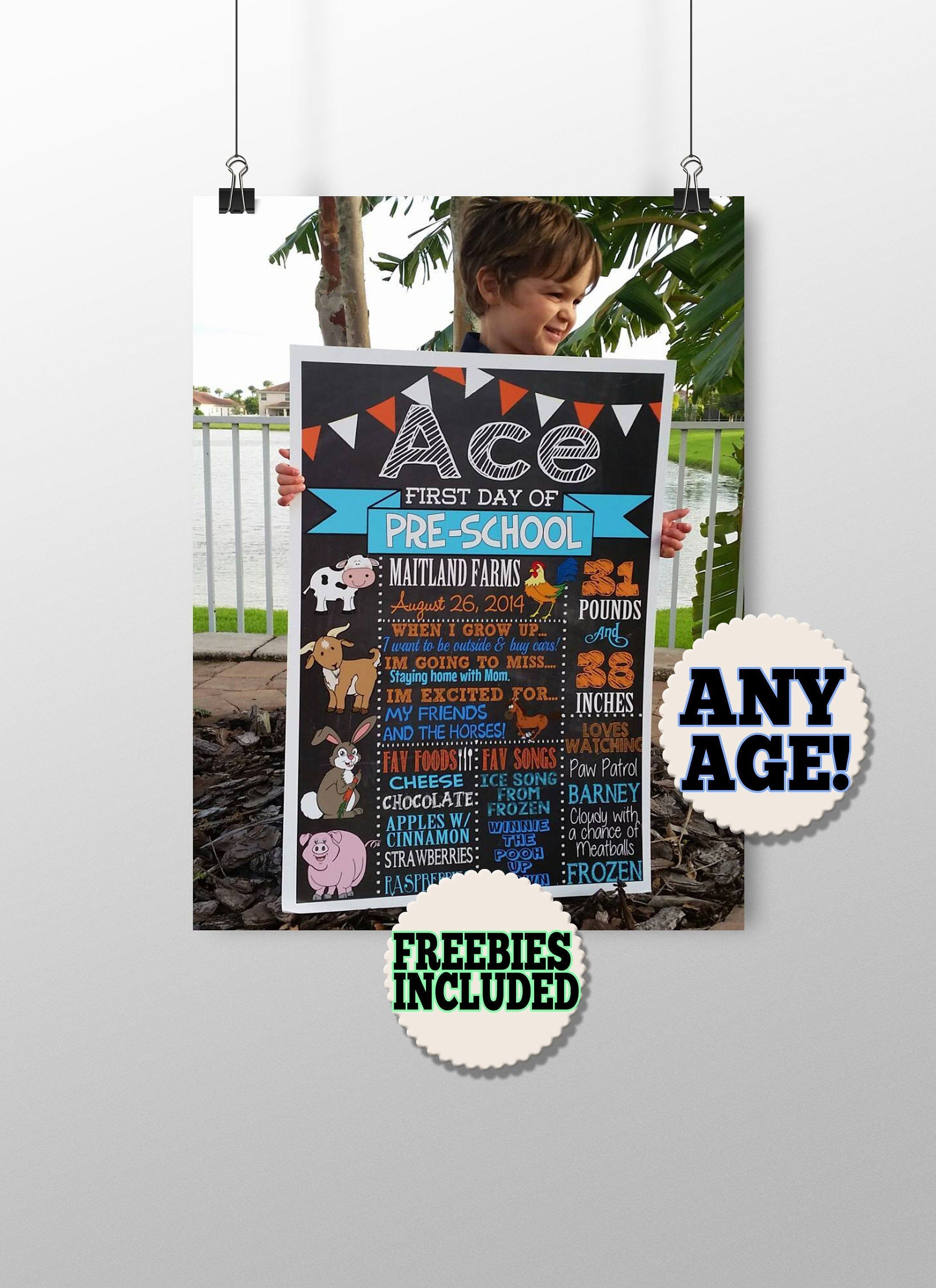 First day of school poster - first day of school signs - animal first day of school - farm first day of school chalkboard printable - prek #firstdayofschoolsign First day of school poster - first day of school signs - animal first day of school - farm first day of school chalkboard printable - prek #firstdayofschoolsign