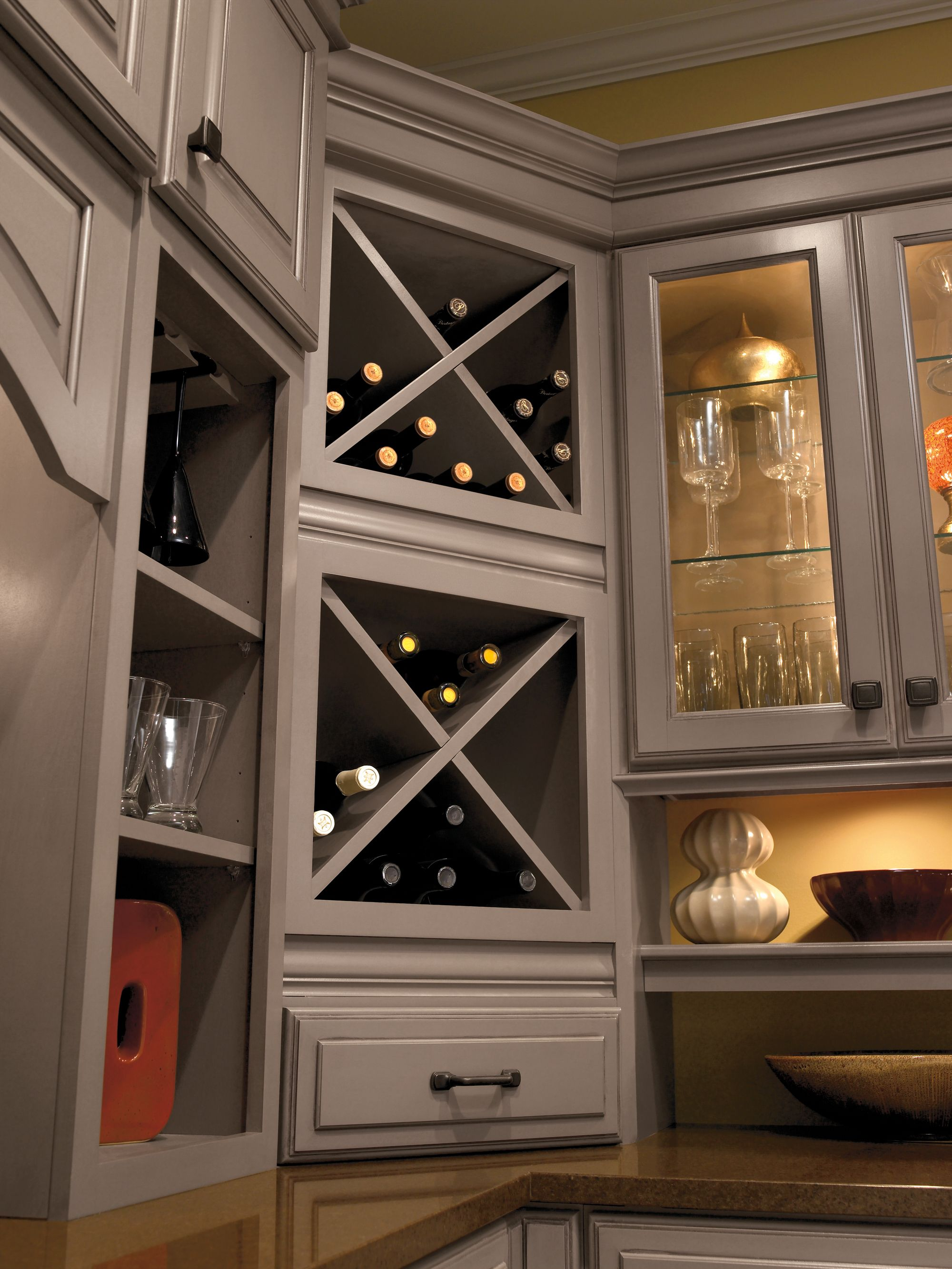 Built in wine racks for kitchen cabinets - Built In Wine Rack Cabinet Storage Schrock Masterbrand Csikitchenandbath