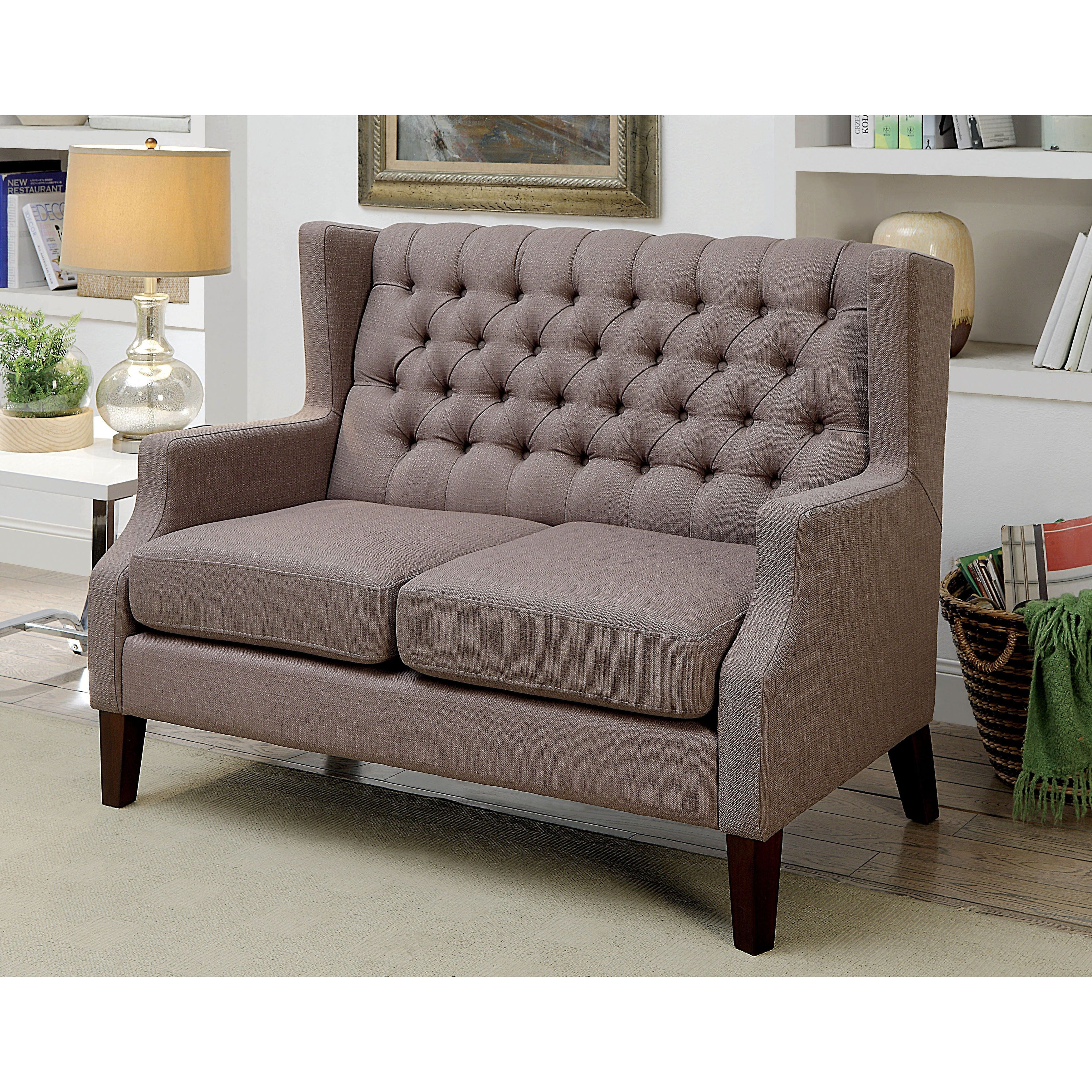 Furniture Of America Venich Contemporary Brown Fabric Tufted Wingback  Loveseat (Brown)