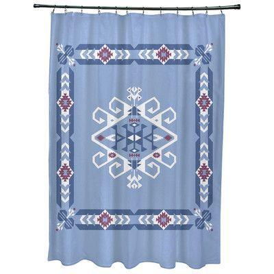 Bungalow Rose Oliver Jodhpur Border 3 Geometric Print Shower Curtain Color: Blue