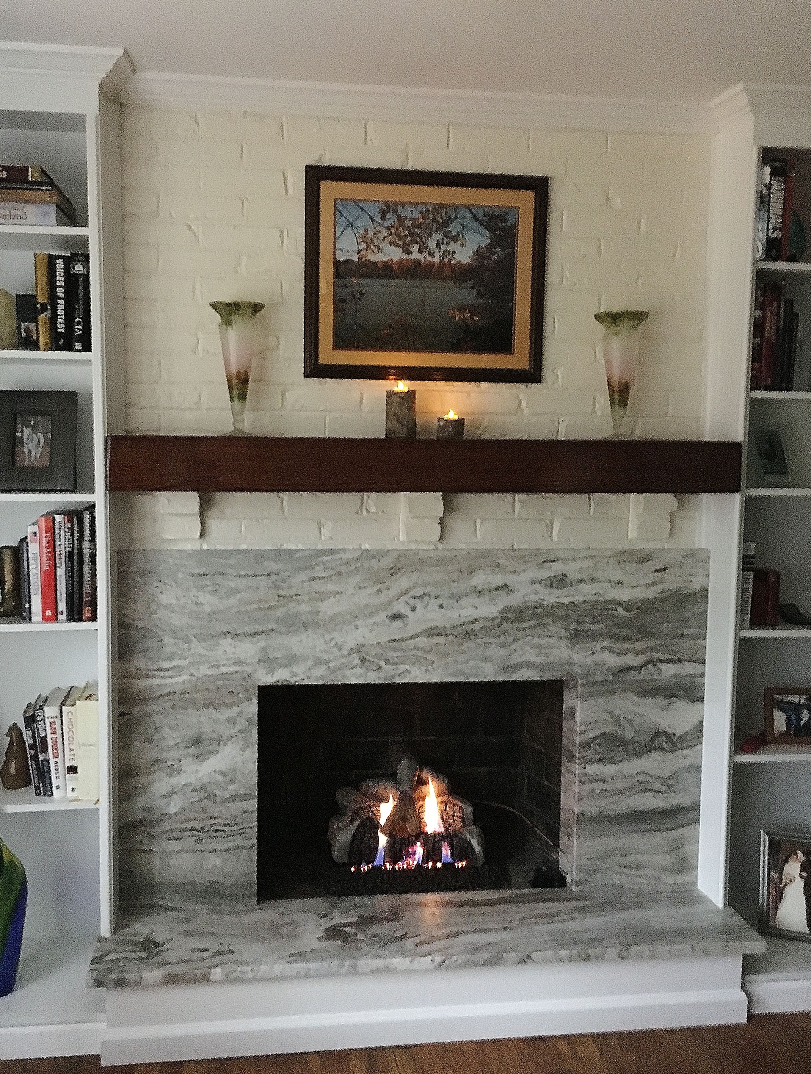 Brown Fantasy Leathered Stone Fireplace Surround And
