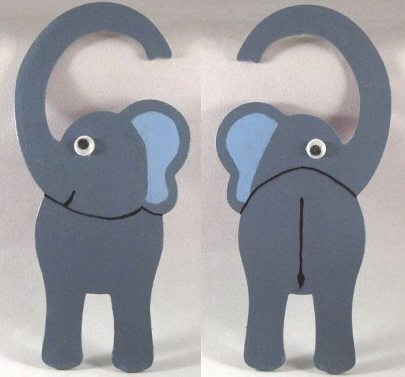 Elephant Door Hanger Nursery Door Hanger Elephant by DidiLouCrafts