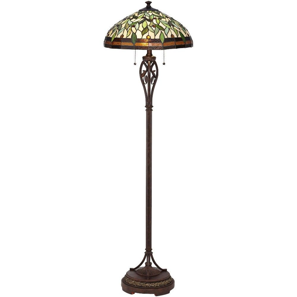Robert Louis Tiffany Traditional Floor Lamp Bronze Tiffany Style Leaf Pattern Stained Glass Shade For Living Room Reading Bedroom Bronze Floor Lamp Tiffany Style Floor Lamps Traditional Floor Lamps