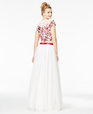 Say Yes to the Prom Juniors\' 2-Pc. Floral-Sequined A-Line Gown, A ...