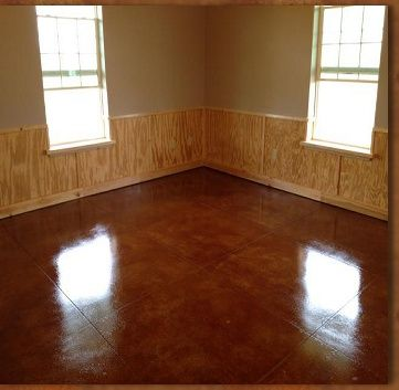 Natural Pine Wainscotting Acid Stained Concrete Floors