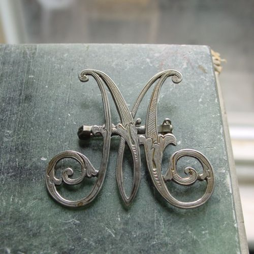 Victorian Silver Chased Monogram Brooch M Monogram Monogram Monogram Letters