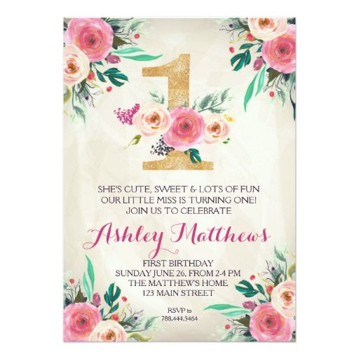 1ST birthday FIRST Beautiful Floral Invitation, Card 1st Birthday - invitation card for ist birthday