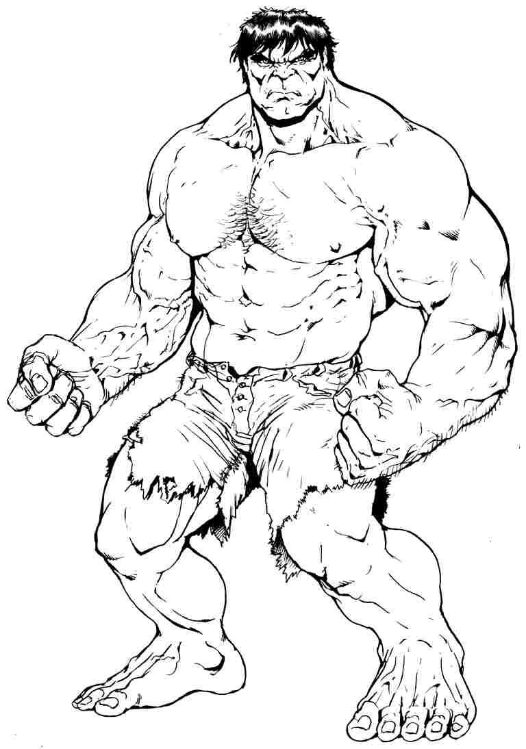 Free Superhero Hulk Colouring Pages