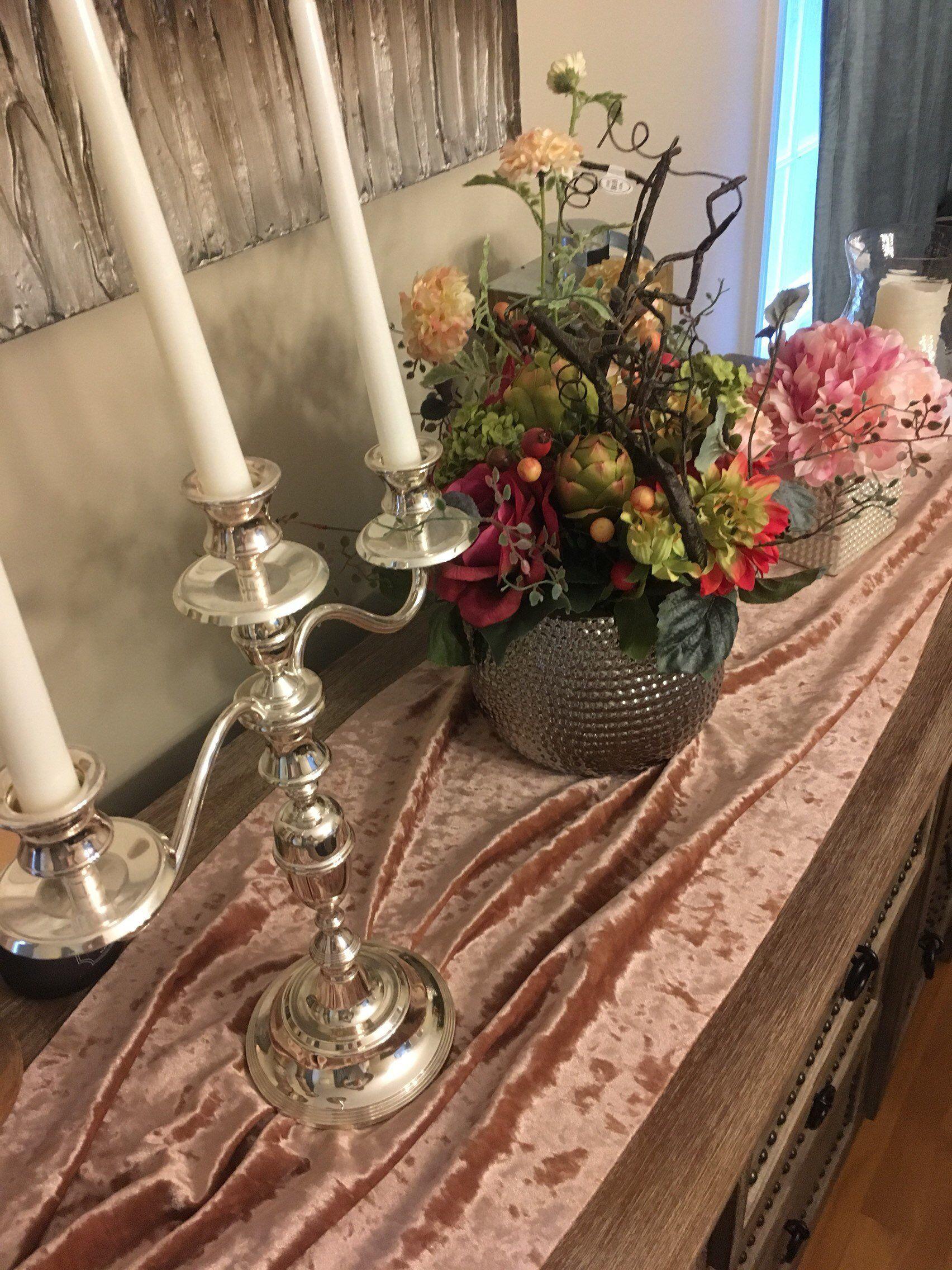 Bronze Crushed Velvet Table Runner Wedding Table Runner Etsy
