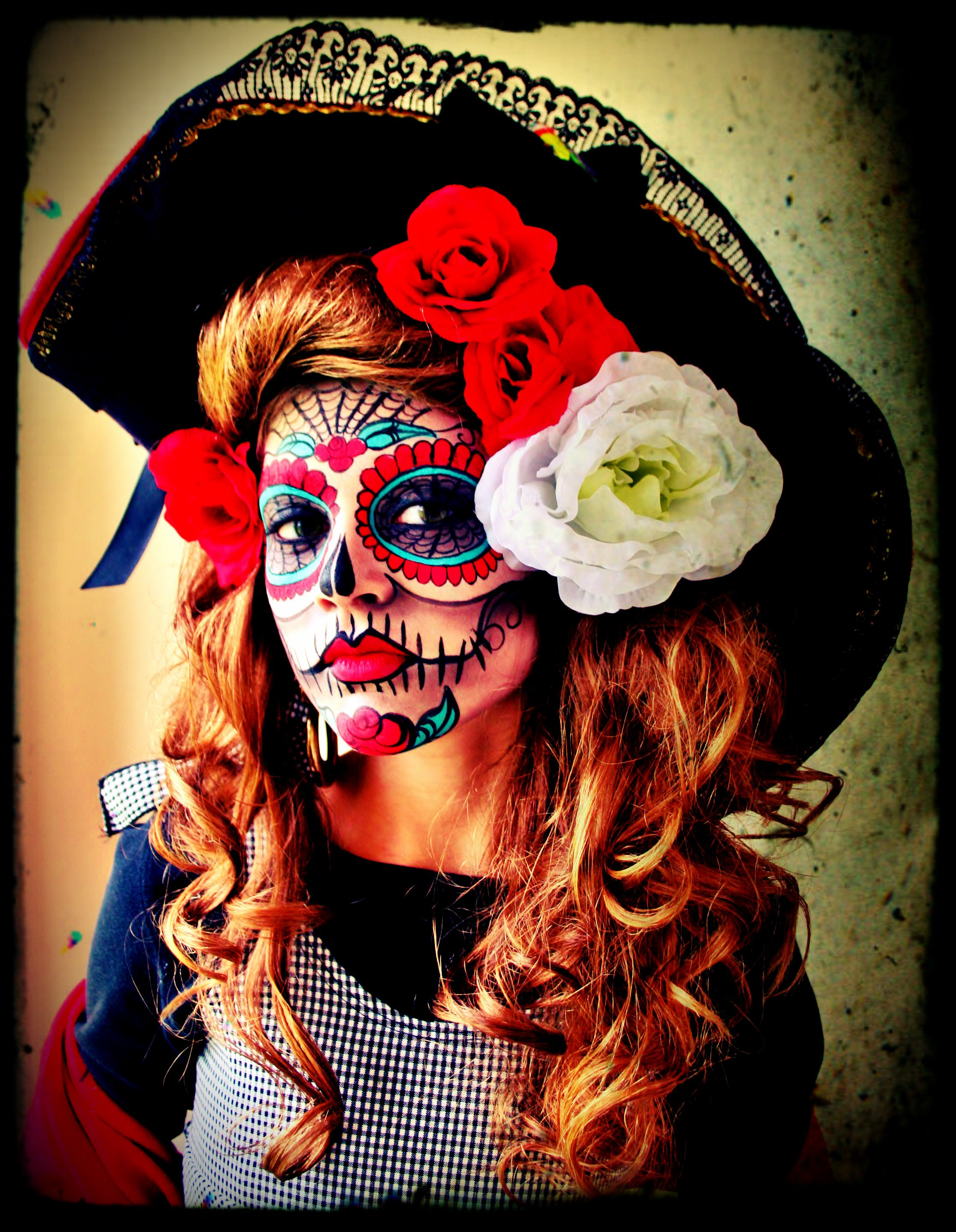 Handpainted Sugar Skull Face!  La Catrina Umylia...my super SMART daughter who also happens to model well naturally!  Dia de los muertos,  Day of the dead celebration,  DIY Halloween Costume, Facepaint.