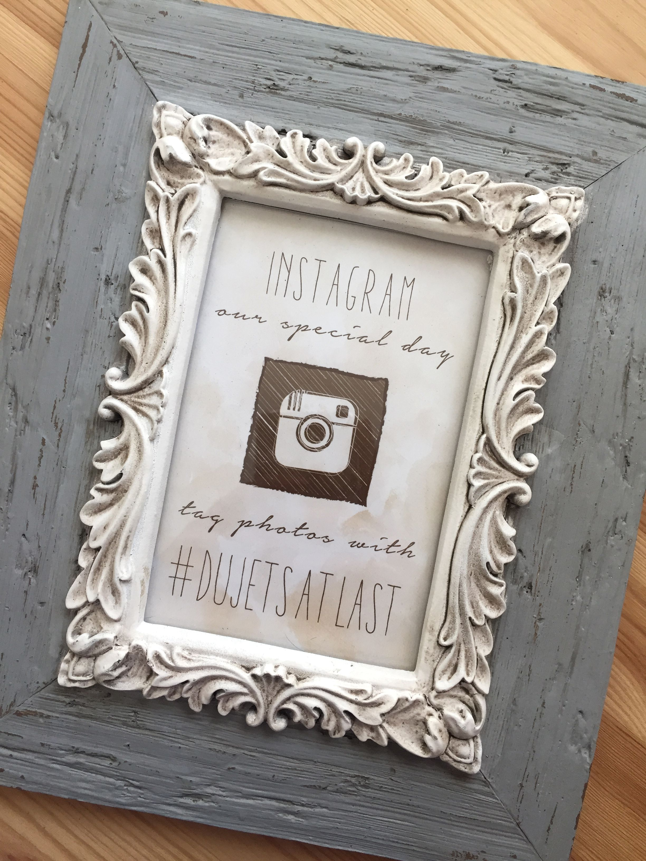 One of my cream colored rustic chic wedding hashtag signs