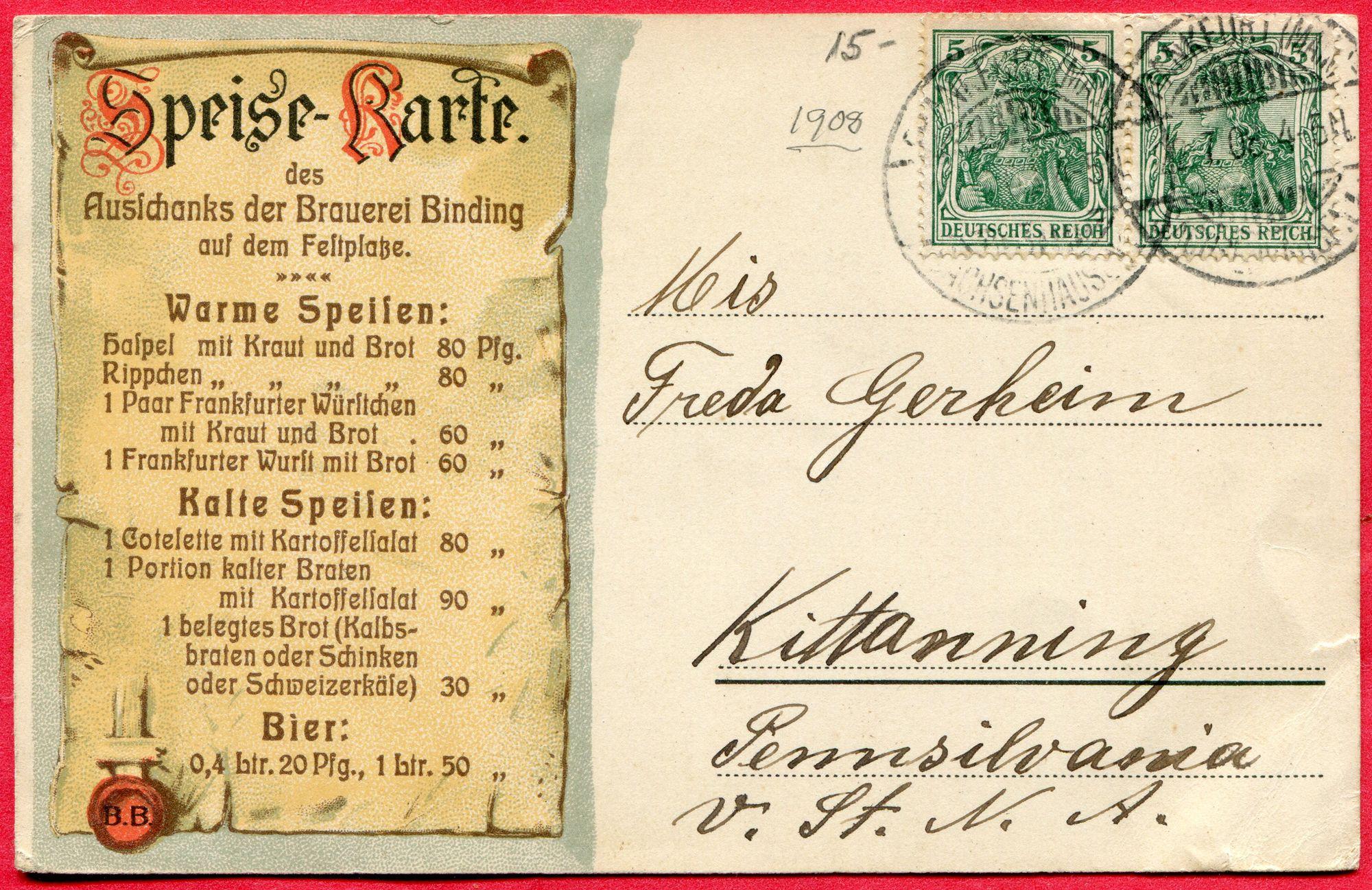Speise Karte Frankfurt A M Xi Deutschen Turnfest Festhalle Brauerei Binding 1908