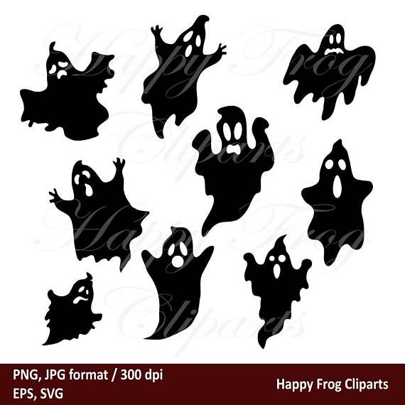 Hallowen Ghosts Hfc 041 Ghosts Ghost Svg Ghost Clipart Etsy Ghost Silhouette Halloween Silhouettes Halloween Clips