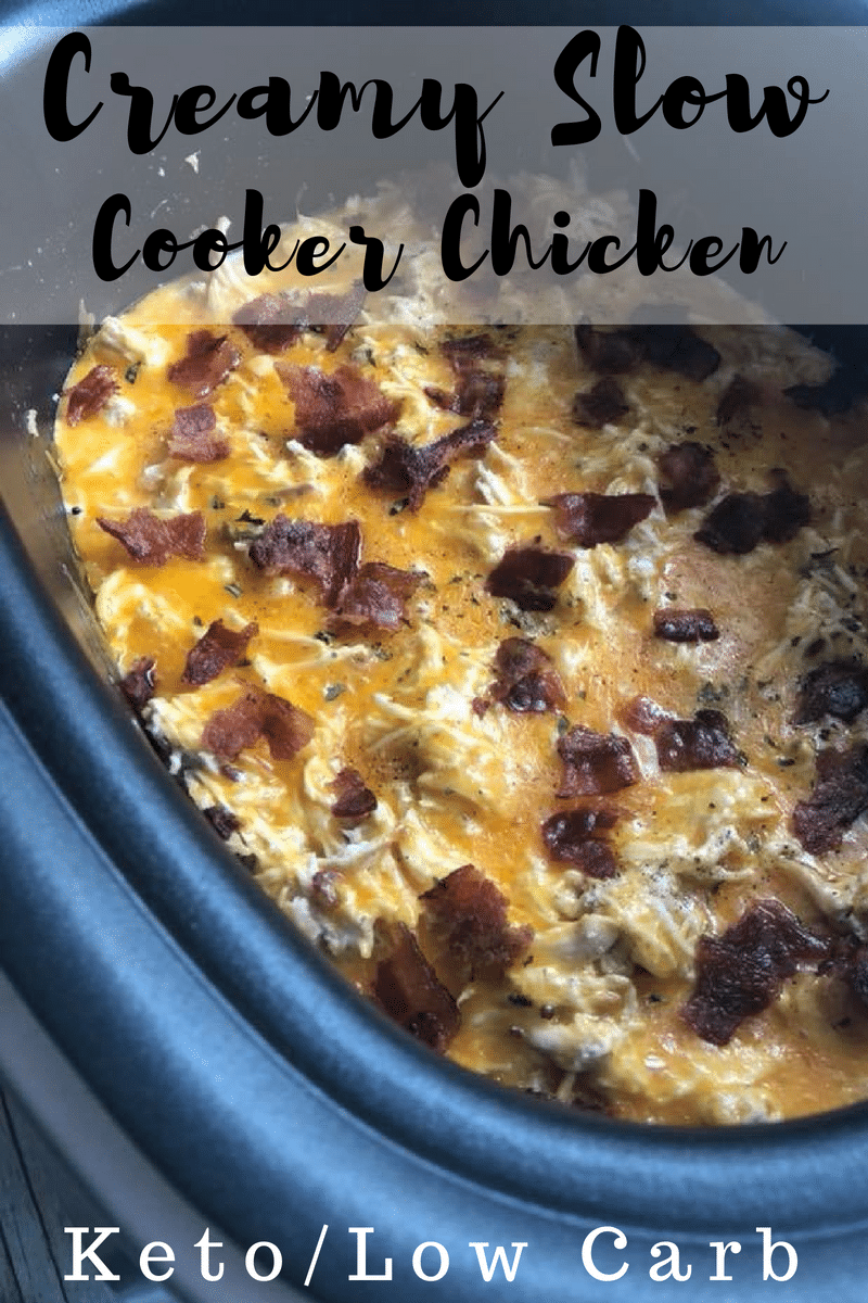 Creamy Slow Cooker Chicken with Bacon & Cheese {low carb & keto}