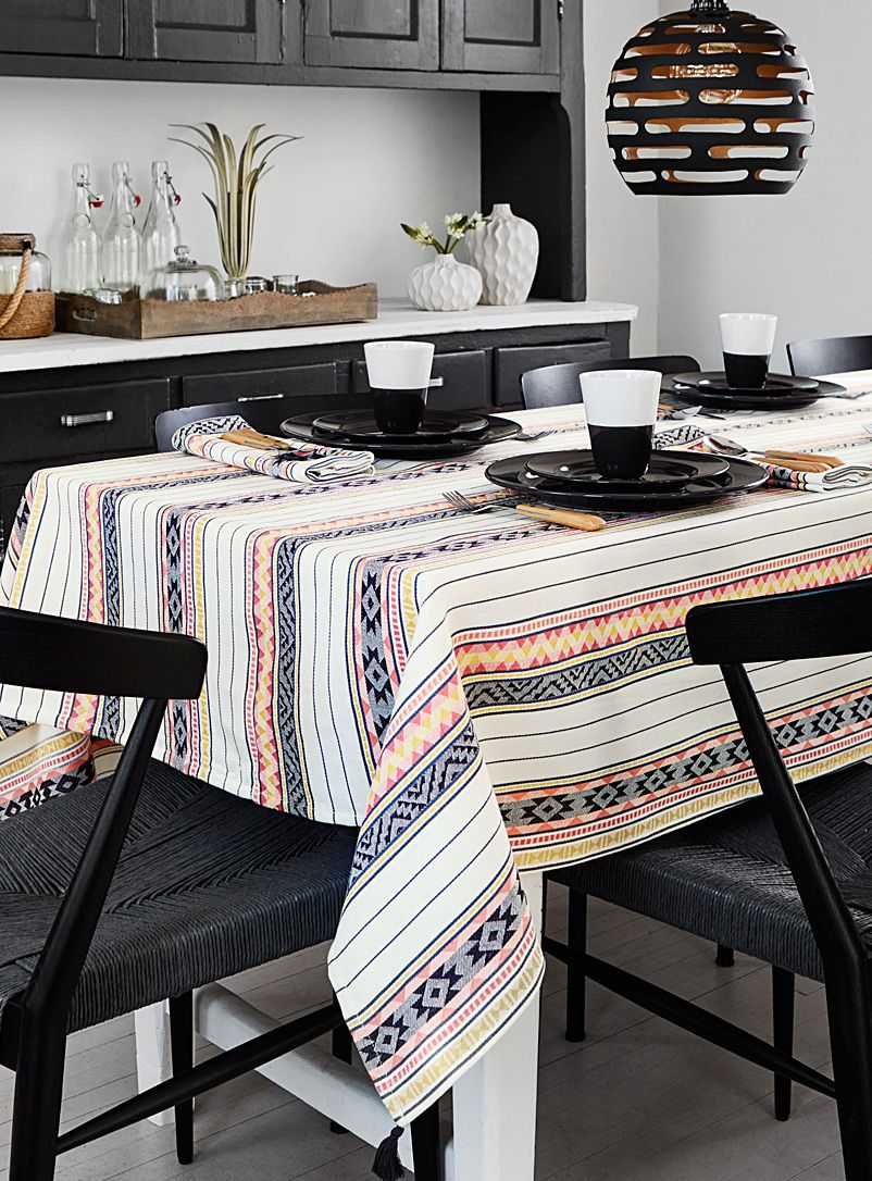 Light Of Dawn Woven Organic Cotton Tablecloth Table Linens