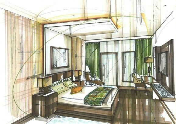 Skizzen, Schlafzimmer, Architektur, Zeichnen, Interior Design Skizzen,  Innenausstattung Simulation, Innenarchitektur, Hausverlosung, Stiftskizze