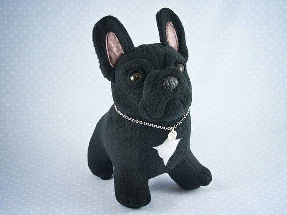 Ooak Black French Bulldog Handmade Soft Art Toy By Entala On Etsy