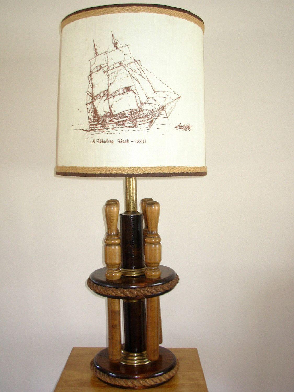 Vintage Nautical Lamp 4 Large Belaying Pins Lamp Nautical Lamps Vintage Nautical